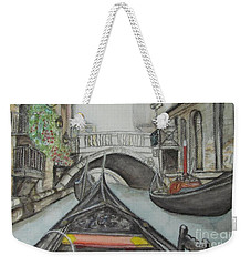 Weekender Tote Bag featuring the painting Gondola Venice Italy by Malinda  Prudhomme