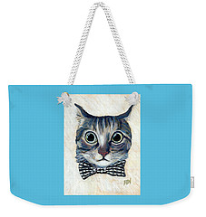 Good Boy Cat With A Checked Bowtie Weekender Tote Bag by Jingfen Hwu