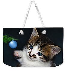 Gorgeous Christmas Kitten Weekender Tote Bag by Terri Waters