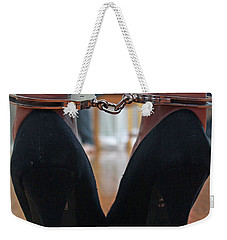 Weekender Tote Bag featuring the pyrography Got Cuffs by Shoal Hollingsworth