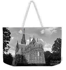 Weekender Tote Bag featuring the photograph Gothic Church In Black And White by John Telfer