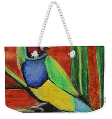 Weekender Tote Bag featuring the painting Gouldian Finch by Jeanne Fischer