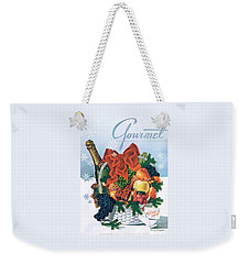 Gourmet Cover Illustration Of Holiday Fruit Basket Weekender Tote Bag