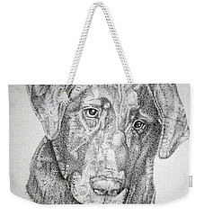 Weekender Tote Bag featuring the drawing Gozar by Mayhem Mediums
