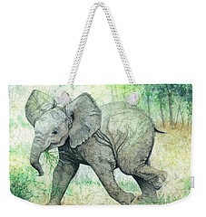 Weekender Tote Bag featuring the painting Grabbing A Snack by Barbara Jewell