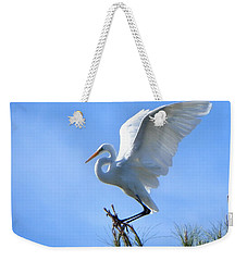 Weekender Tote Bag featuring the photograph Graceful Landing by Deb Halloran