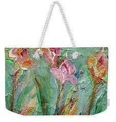 Weekender Tote Bag featuring the painting Grace's Garden by Mary Wolf