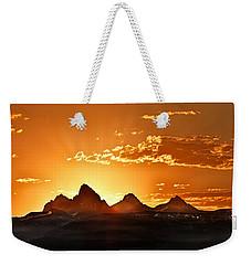 Grand Teton Sunrise Weekender Tote Bag by Leland D Howard
