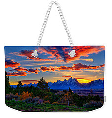 Weekender Tote Bag featuring the photograph Grand Teton Sunset by Greg Norrell