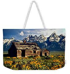 Weekender Tote Bag featuring the photograph Grand Tetons Cabin by John Haldane