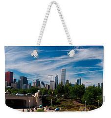 Grant Park Chicago Skyline Panoramic Weekender Tote Bag by Adam Romanowicz