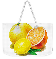 Weekender Tote Bag featuring the painting Grapefruit Lemon Orange by Irina Sztukowski