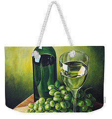 Weekender Tote Bag featuring the painting Grapes And Wine by Kim Lockman