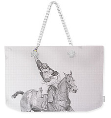 Graphite Drawing - Shooting For The Polo Goal Weekender Tote Bag