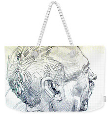 Weekender Tote Bag featuring the drawing Graphite Portrait Sketch Of A Man In Profile by Greta Corens