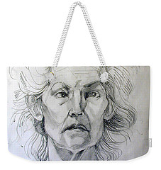 Weekender Tote Bag featuring the drawing Graphite Portrait Sketch Of A Well Known Cross Eyed Model by Greta Corens