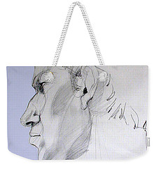 Weekender Tote Bag featuring the drawing Graphite Portrait Sketch Of A Young Man In Profile by Greta Corens