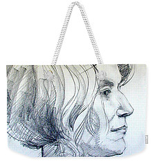 Portrait Drawing Of A Woman In Profile Weekender Tote Bag by Greta Corens