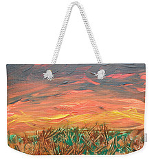 Grassland Sunset Weekender Tote Bag by David Trotter