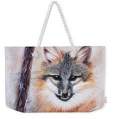 Gray Fox Weekender Tote Bag by Patricia Lintner
