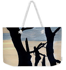 Weekender Tote Bag featuring the drawing Gray Sunset by D Hackett