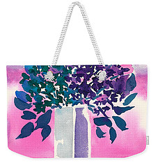 Weekender Tote Bag featuring the painting Gray Vase by Frank Bright