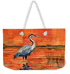 Great Blue Heron In Marsh Weekender Tote Bag by Melly Terpening