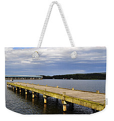 Great Blue Heron Sunning On The Dock Weekender Tote Bag