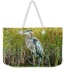 Great Blue Heron Waiting For Supper Weekender Tote Bag by Eti Reid