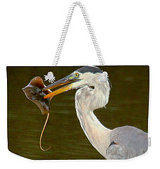 Great Blue Heron With Stingray Weekender Tote Bag by Myrna Bradshaw