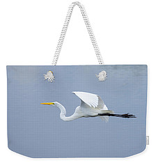 Weekender Tote Bag featuring the photograph Great Egret In Flight by John M Bailey
