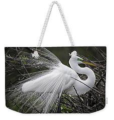 Great Egret Preening Weekender Tote Bag by Fran Gallogly