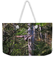 Great Grey Owl Pounces  Weekender Tote Bag by David Porteus