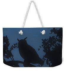 Weekender Tote Bag featuring the drawing Owl At Night by D Hackett