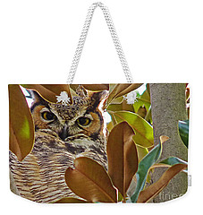 Weekender Tote Bag featuring the photograph Great Horned Owl by Meghan at FireBonnet Art