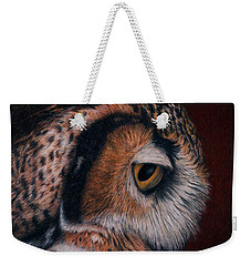 Weekender Tote Bag featuring the painting Great Horned Owl Portrait by Pat Erickson