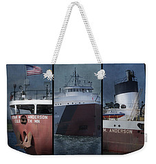 Great Lakes Freighter Triptych Arthur M Anderson Weekender Tote Bag