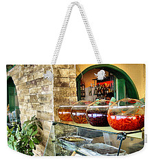Weekender Tote Bag featuring the photograph Greek Isle Restaurant Still Life by Mitchell R Grosky