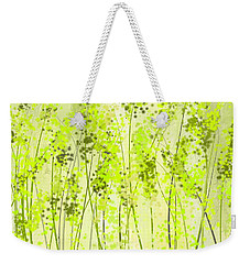 Green Abstract Art Weekender Tote Bag by Lourry Legarde