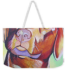 Weekender Tote Bag featuring the painting Green And Brown Dog by Joshua Morton
