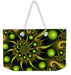 Weekender Tote Bag featuring the digital art Green And Gold by Gabiw Art