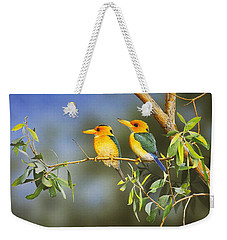 Green And Gold - Yellow-billed Kingfishers Weekender Tote Bag
