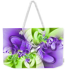 Green And Purple Weekender Tote Bag by Lena Auxier