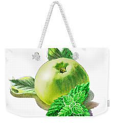 Weekender Tote Bag featuring the painting Green Apple And Mint Happy Union by Irina Sztukowski