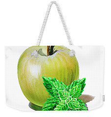 Weekender Tote Bag featuring the painting Green Apple And Mint by Irina Sztukowski