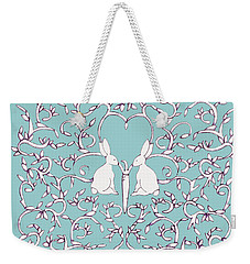 Weekender Tote Bag featuring the drawing Green Blue Rabbits Leaves by Donna Huntriss