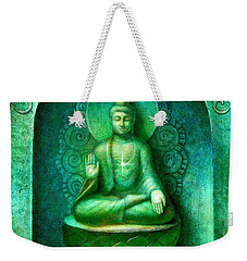 Weekender Tote Bag featuring the painting Green Buddha by Sue Halstenberg