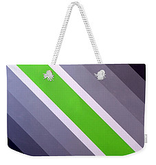 Weekender Tote Bag featuring the painting Green Chevron by Thomas Gronowski