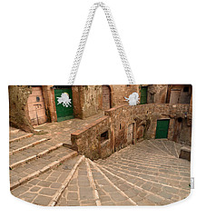 Weekender Tote Bag featuring the photograph Green Doors by Alan Socolik