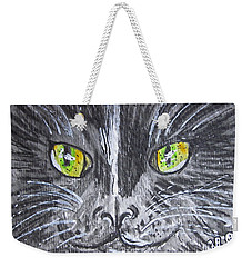 Green Eyes Black Cat Weekender Tote Bag